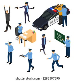 Character Policeman in Uniform 3d Icon Set Isometric View Include of Car and Gun. Vector illustration of Sitting, Running and Standing Person