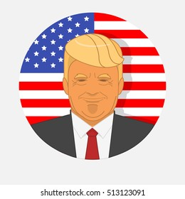 Character portrait of Donald Trump on American flag background. Vector illustration