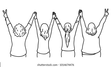 Character portrait of woman, turn backwards, raising hands in the air, holding together, in concept of having fun, celebration, fighting, or friendship. Diversity, multi-ethnic, hand drawn sketch.