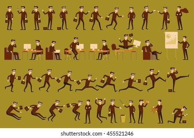 character positions set business people vector art