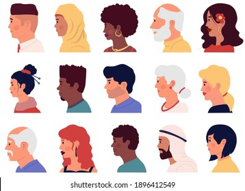 Character profiles. Cartoon people face side portraits. Different nationalities Arabian, Asian and Muslim men and women. Young and old male and female humans. Vector isolated on white avatars set