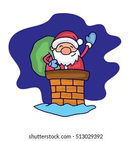 Character Santa Claus at night vector art