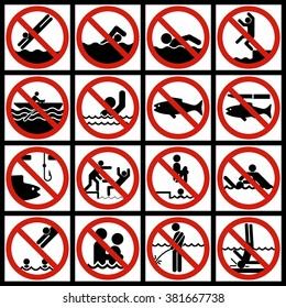 Character Set aqueous medium. Posters restraining type regulating safe behavior on the water.