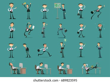 Character set of businessman. Businessman in different poses and situations. Vector illustration.