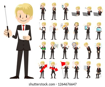 It is a character set of a businessman. There are gestures and poses mainly explained. It's vector art so it's easy to edit.