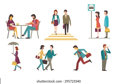 Character set of businesspeople, man and woman in outdoor activity. Sitting in coffee shop, walking across zebra crossing, waiting at bus stop, go to work, running, smoking, chatting. Flat design.