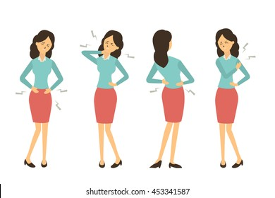 Character set of businesswoman at workplace get pain in various problem, back pain, abdominal problem, neck pain, and hurt at shoulder from working. Full length, isolated on white.