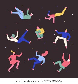 Character set floating in my dreams. flat design style vector graphic illustration.