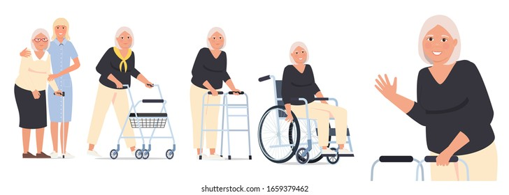 Character set, grandmother in a wheelchair, granny with a paddle walker and an elderly woman with a walking stick and a nurse.