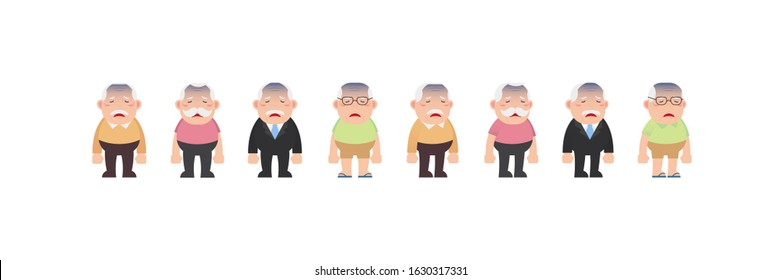 Character set of Old men, Older seniors retired are standing and Exhausted sick tired bored, An elderly man cartoon design in 4 Different flat style Vector illustration