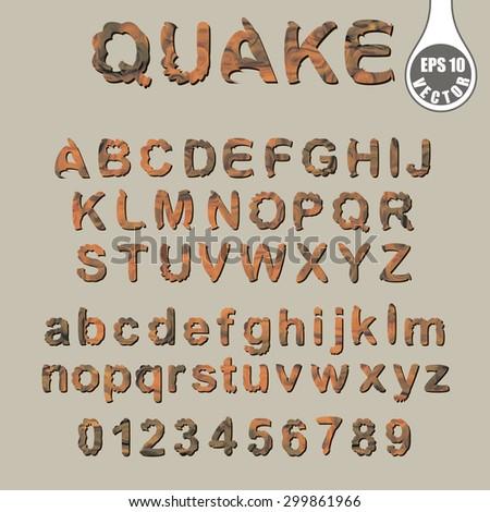 Character set Trembling font