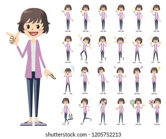 It is a character set of a woman. There are basic emotional expression and pose. It's vector art so it's easy to edit.