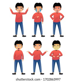 Character showing emotions conceptual design ilustration vector