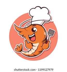 Character shrimp take a chef hat and turner holder.