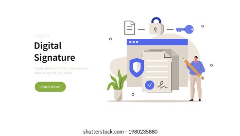 Character signing document online using cyber security service. Electronic digital signature, smart contract and secure data concept . Flat cartoon vector illustration.