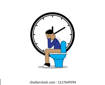 Character sitting on toilet
