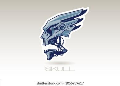 character skull of the robot, machine head, metal,  vector logo