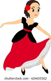 Character, spanish young girl flamenco dancer in black and red traditional dress.