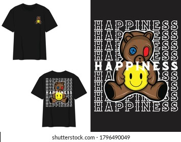Character Street Wear T-shirt. Teddy Bear With Pills, Happiness