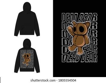 Character Streetwear Hoodie Dead Bear Design