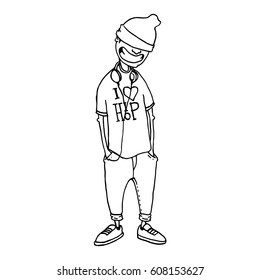 Character in the style of hip-hop. Cool smiling rapper. The concept of street style. Sketch. It can be used as posters, printed materials, videos, mobile apps, web sites and print projects.