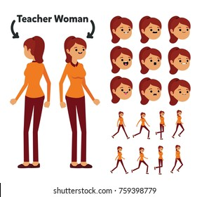 Character is a teacher woman. The character is ready for animation. Walk Animation.