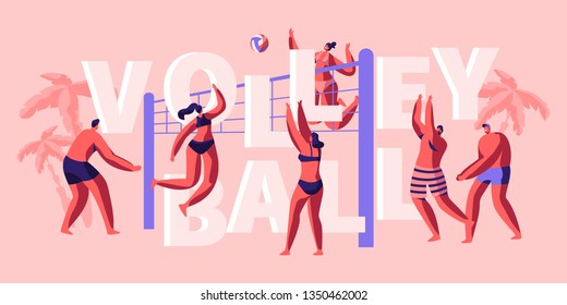 Character Team Play Volleyball on Beach Banner. Funny and Sunny Day for Playing Game with Friend. Catching and Throwing Ball. Popular Sport for two Company of Player. Flat Cartoon Vector Illustration