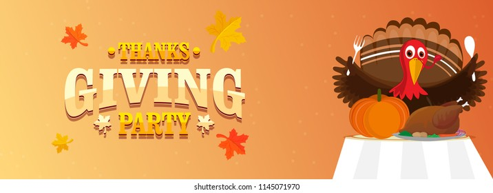 Character of turkey bird holding spoon and fork with food elements on table for Thanksgiving Party concept. Header or banner design.