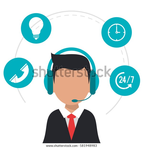 character wearing headset call center icons