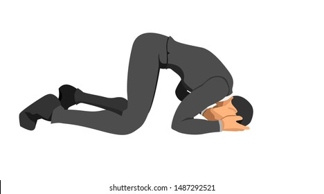 the character wearing a suit is bowing down holding his head. gestures indicate failure and bankruptcy. eps10 vector file