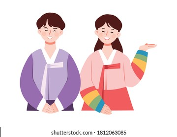 A character wearing a traditional Korean costume, Hanbok. A couple making a guiding gesture.