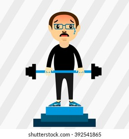 The character weight lifter with equipment. Weightlifter first place, competition, podium. Emotion fatigue.barbell. The mustachioed athlete.