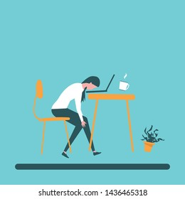 character Woman burnout Long working day lifestyle vector