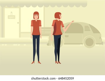 Character woman design set and urban background tone color yellow. Vector, illustration, Flat Character cartoon,people style. front view, Side view. Simple design.
