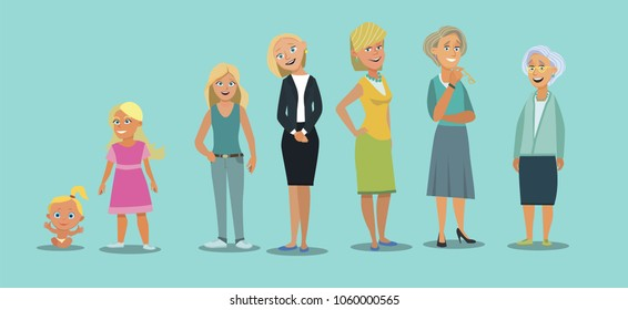 Character of a woman in different ages. Vector illustration in cartoon style