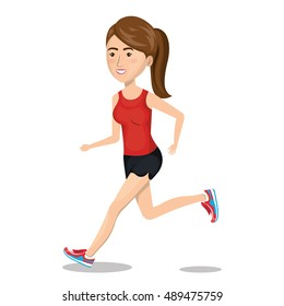 character woman running sport icon