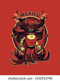 Character, wrestling from Mexico with tattoos and cape
