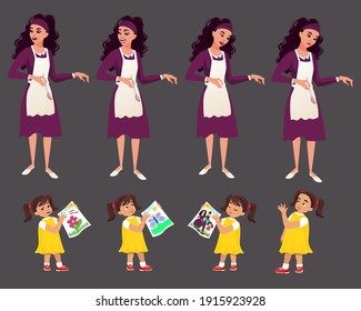 Character of a young beautiful caucasian woman in a kitchen apron. The character of a little girl 5 years old who shows her drawing on a piece of paper.