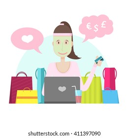 The character of a young girl with a laptop and credit card. The woman is engaged in online shopping. Spa procedures and online shopping at home. Young girl with mask on his face and purchase. Vector