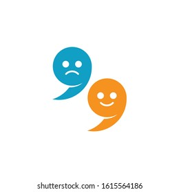 Characterized, laughing and crying apostrophe vector illustration