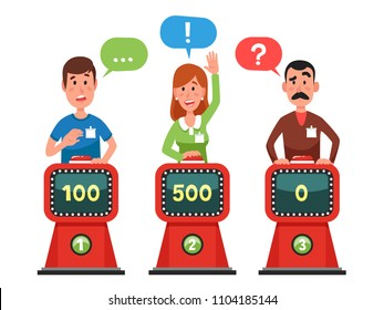 Characters answer test question on intellect show. Gaming cartoon man and woman pressing button and answering quiz questions. Game trivia competition vector flat illustration