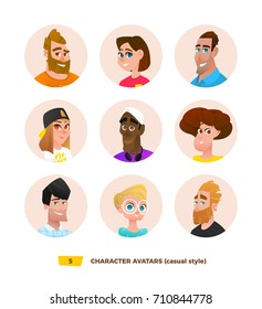 Characters avatars in cartoon flat style.