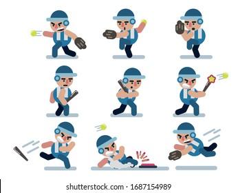 characters baseball, game, flat ,icon man, cartoon