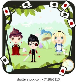 "Characters of book ""Alice in Wonderland"". Alice, red queen, blue caterpillar, knave of hearts. Vector."