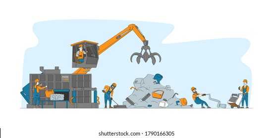 Characters Bring and Recycling Old Metal Things and Broken Technique on Junkyard or Plant. Scrapmetal Recycle Industry, Trash Reuse. Crane Arm Loading Metal Scrap. Linear People Vector Illustration