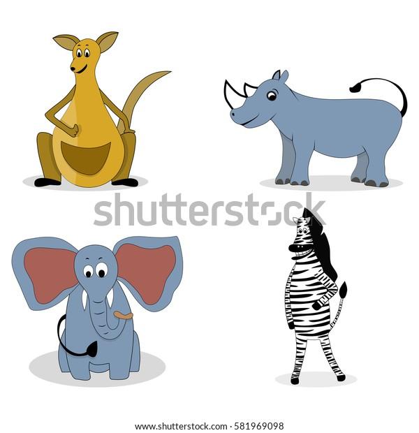 Characters carnivores vector. Kangaroos and rhino, zebra and elephant illustration