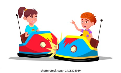 Characters Children Driving Bumper Car Vector. Happy Laughing Funny Boy And Girl On Bumper Auto Wheel Attraction At Amusement Park. Enjoyment Family Time Colorful Flat Cartoon Illustration