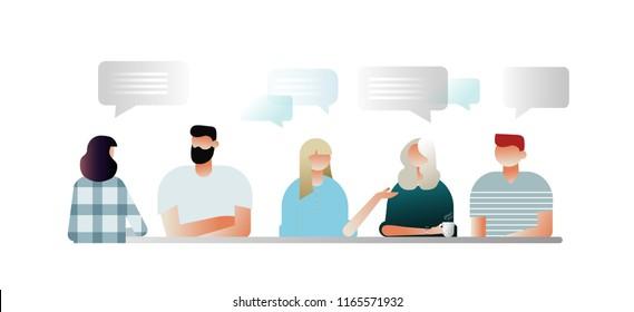 Characters design, vector illustration, businessmen discuss social network, news, chat, dialogue speech bubbles