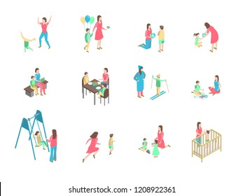 Characters Different Nanny and Children Set 3d Isometric View Care of Child, Kid or Baby Concept. Vector illustration