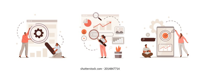 Characters discussing marketing and seo strategy. People analyzing market trends and planning seo optimization. Seo targeting and performance concept. Flat cartoon vector illustration and icons set.